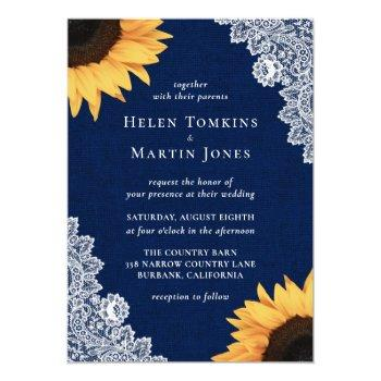 navy blue lace sunflower wedding invitations