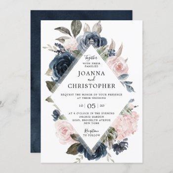 navy blue mauve blush rose boho geometric wedding invitation