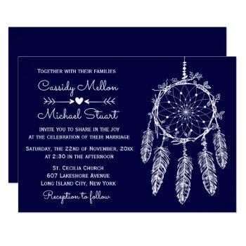 navy blue native american dream catcher wedding invitation