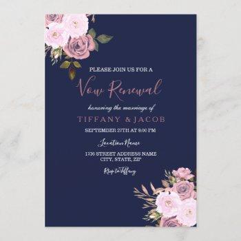 navy blue pink & rose vow renewal invite