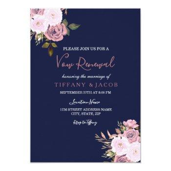 navy blue pink & rose vow renewal invite