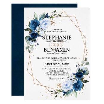 navy blue rose boho geometric wedding invitation
