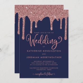 navy blue rose gold glam glitter wedding invitation