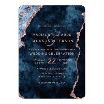 Small Navy Blue Rose Gold Marble Wedding Invitations Front View
