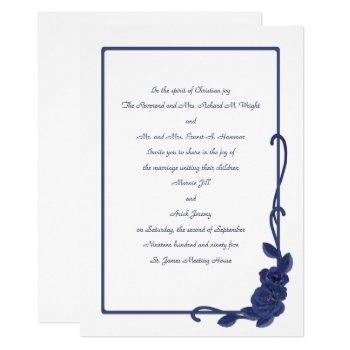 navy blue roses and frame 25th wedding anniversary invitation