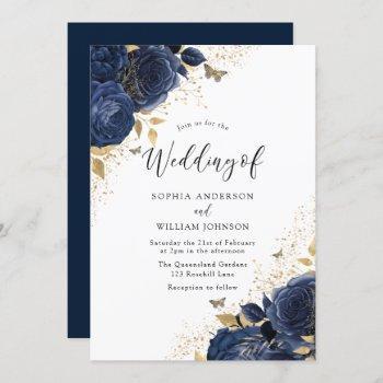 navy blue roses & gold butterflies wedding invitation