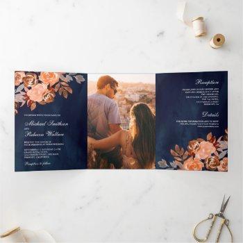 navy blue rustic earthy terracotta floral wedding tri-fold invitation