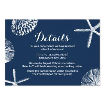 navy blue seashells beach wedding details invitation