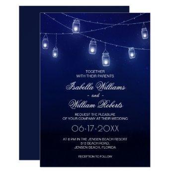 navy blue & silver mason jar string lights wedding invitation