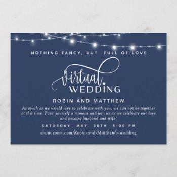 navy blue, string lights, online virtual wedding invitation