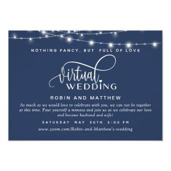 Small Navy Blue, String Lights, Online Virtual Wedding Invitation Front View