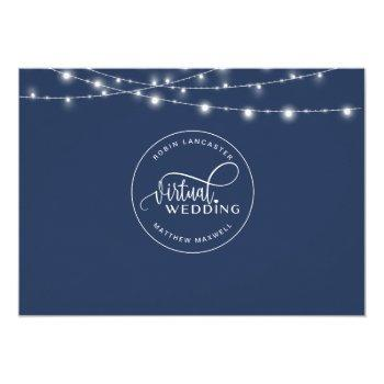 Small Navy Blue, String Lights, Online Virtual Wedding Invitation Back View