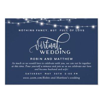 navy blue, string lights, online virtual wedding invitation