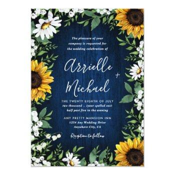 Small Navy Blue Sunflower Rustic Wedding Invitations Front View