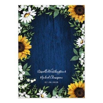 Small Navy Blue Sunflower Rustic Wedding Invitations Back View