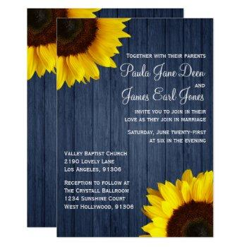 navy blue & sunflower wedding invitation