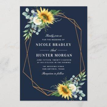 navy blue sunflower white peony wedding invitation