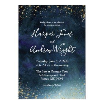 Small Navy Blue Watercolor Gold Glitter Wedding Invitation Front View
