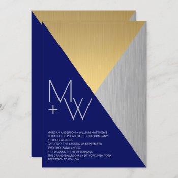 navy blue wedding modern mixed metals geometric invitation