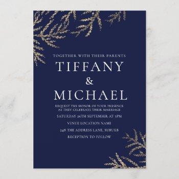 navy blue & white gold leaf wedding invitation