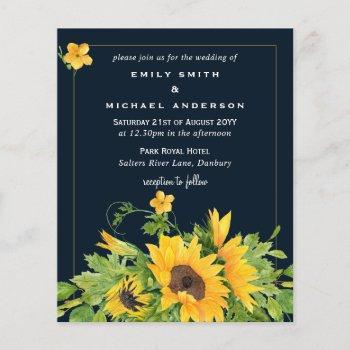 navy blue yellow sunflowers wedding invites