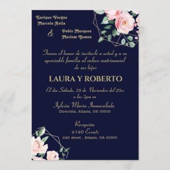navy blush, floral wedding (spanish) invitation
