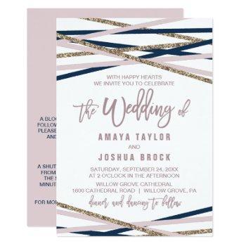 navy blush & gold streamers detail on back wedding invitation