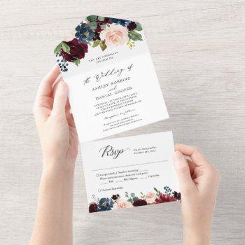 navy burgundy blush floral wedding details rsvp all in one invitation
