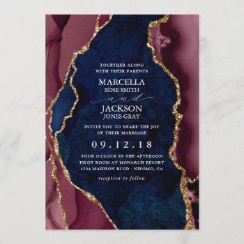 navy, burgundy & gold agate wedding invitation
