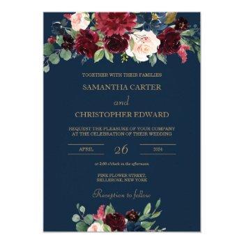navy burgundy gold blush pink floral wedding invitation