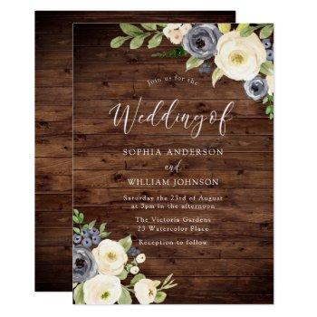 navy & champagne flowers rustic wedding invitation
