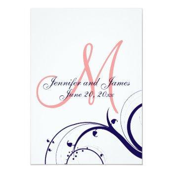 navy coral swirl monogram wedding invitation