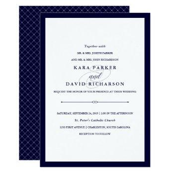 navy couture | elegant wedding invitation