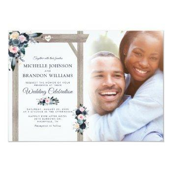 navy, dusty blue & blush floral photo wedding invitation