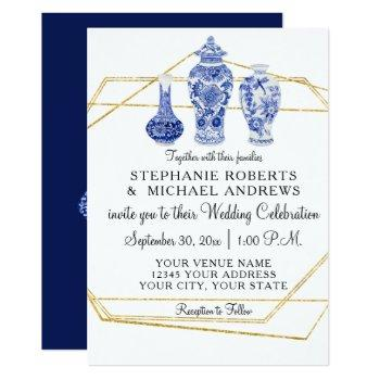navy gold vintage chinese vintage pottery wedding invitation
