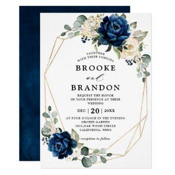 navy gold white champagne ivory geometric wedding invitation