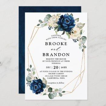 navy gold white champagne ivory geometric wedding invitation