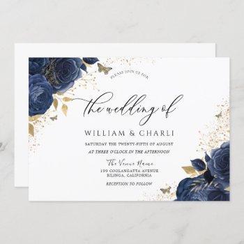 navy indigo blue flowers butterfly wedding invitation