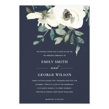 navy ivory white floral watercolor bunch wedding invitation
