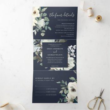 navy ivory white floral watercolor bunch wedding tri-fold invitation