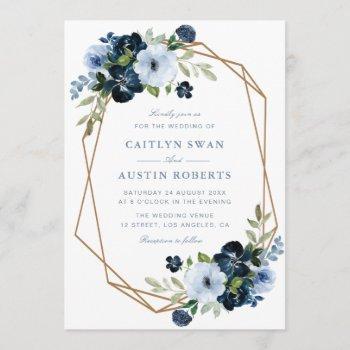 navy & light blue floral geometric wedding invitation