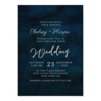 navy luster dark blue minimal monogram wedding invitation