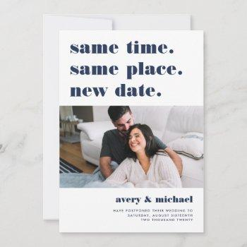 navy | modern wedding postponement photo save the date