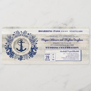 navy nautical anchor boarding pass wedding ticket invitation
