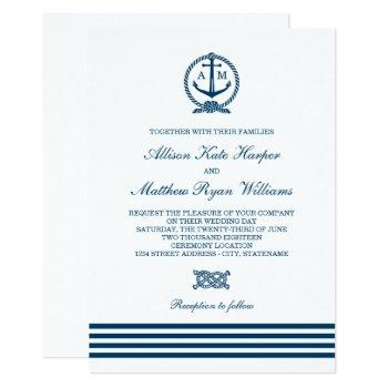 navy nautical stripes anchor monogram white invitation