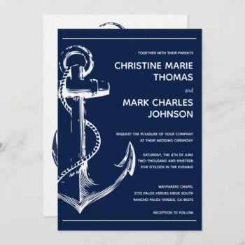 navy nautical white ship anchor wedding invitation