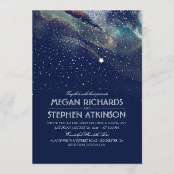 navy night gold shooting star elegant wedding invitation
