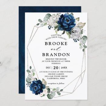 navy silver white ivory geometric wedding invitation