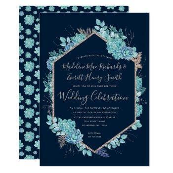 navy succulents & rose gold wedding invitation