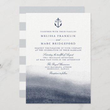 navy tides anchor monogram wedding invitation